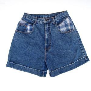 Vintage Mom Jean Shorts Denim + Plaid High Waist